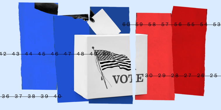 Photo illustration: A hand voting into a ballot box is divided over three blue strips and two red strips. Numbers are running from end to end.