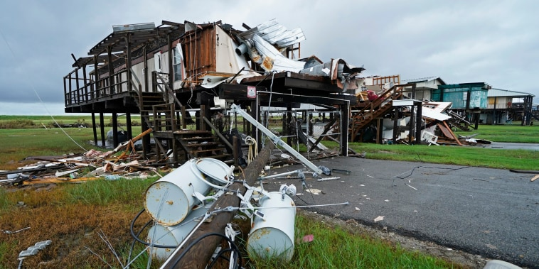 Tropical Storm Nicholas approaches homes destroyed by Hurricane Ida in Pointe-aux-Chenes, La., on Sept. 14, 2021.