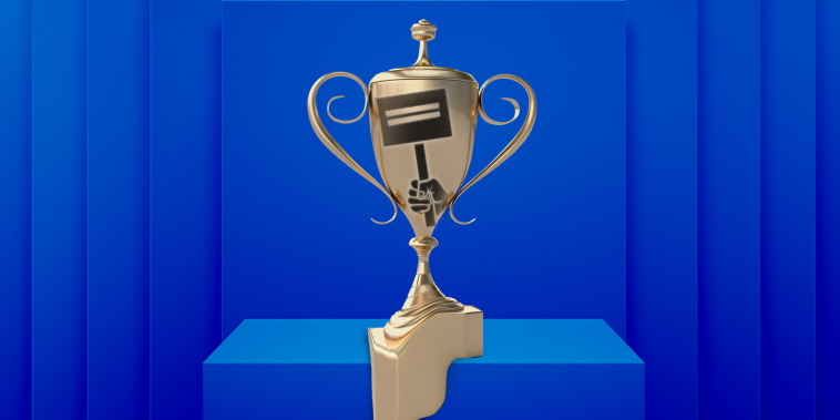 Photo illustration: A gold trophy with a hand holding a protest sign over it sitting on a pedestal and melting.