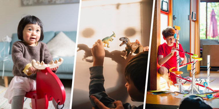 Split images of a 10 year old boy playing with car tracks, little boy making shadows with you dinosaurs and a little girl on a red moose rocker