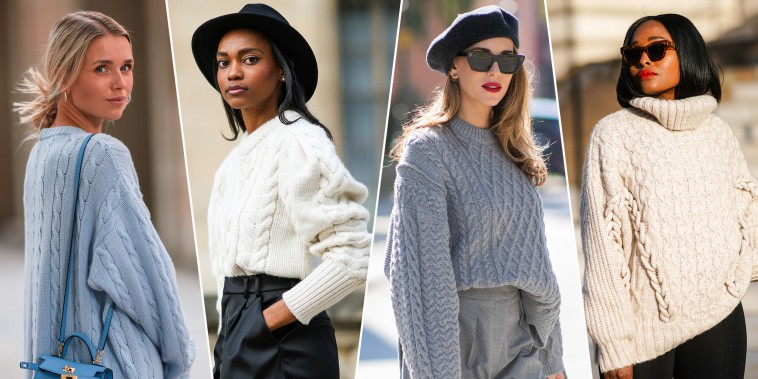Four images of stylish woman wearing cable knit sweaters and cardigans