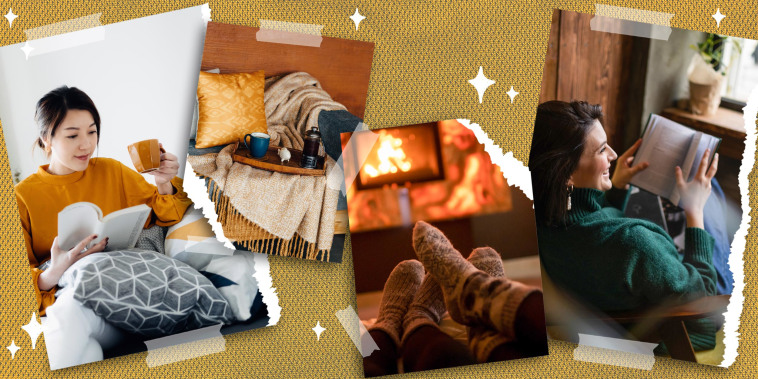 Images of a cozy woman drinking from a mug, two feet in fuzzy socks cozy by a fire, Woman laying in a chair reading a book and a lifestyle of a coffee mug and French press on a tray