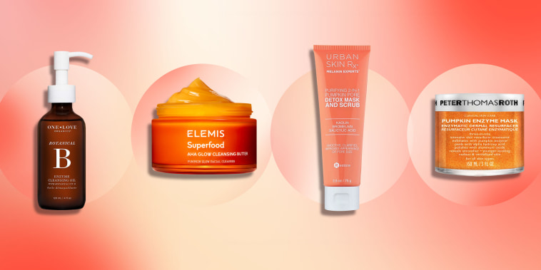 Illustration of four different pumpkin skin care products