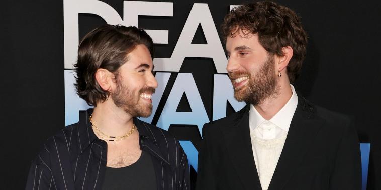 """Noah Galvin and Ben Platt attend the """"Dear Evan Hansen"""" premiere."""