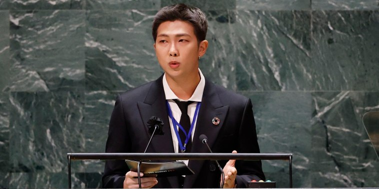 Image: RM of South Korean boy band BTS speaks during the United Nations General Assembly on Sept. 20, 2021.