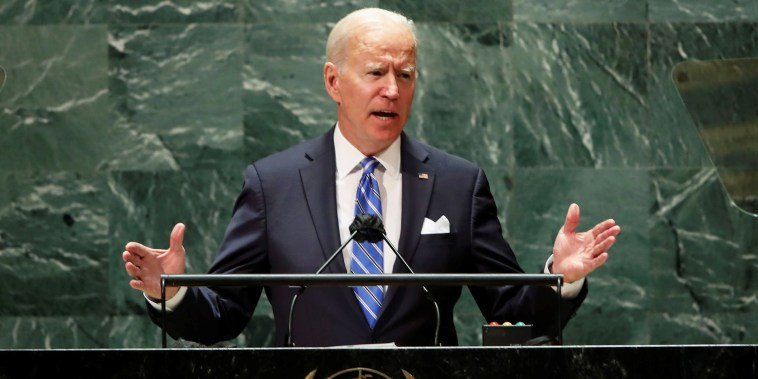 President Joe Biden speaks during the 76th Session of the U.N. General Assembly in New York City on Sept. 21, 2021.