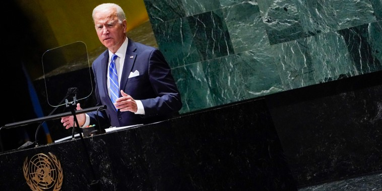 President Joe Biden delivers remarks to the 76th Session of the United Nations General Assembly on Sept. 21, 2021, in New York.