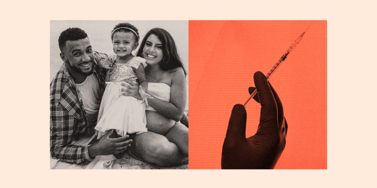 Illustration of Nicole Torres with her husband, Robert, their one-year-old, Eliana, and a vaccine syringe.