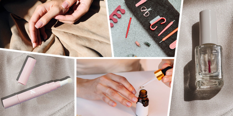 Collage of images of a Woman putting oil on her cuticles, beautiful manicured hands, a bottle of clear polish, Olive and June cuticle care and a manicure set