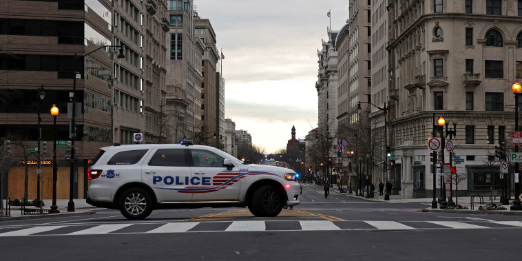 Image: A D.C. Metropolitan Police vehicle on patrol on Jan. 17, 2021.