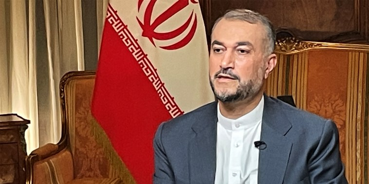 Image: Iranian Foreign Minister Hossein Amirabdollahian during an interview with Andrea Mitchell of NBC News on Sept. 23, 2021.