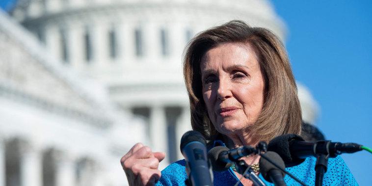 Speaker of the House Nancy Pelosi speaks at the Capitol on Sept. 24, 2021.