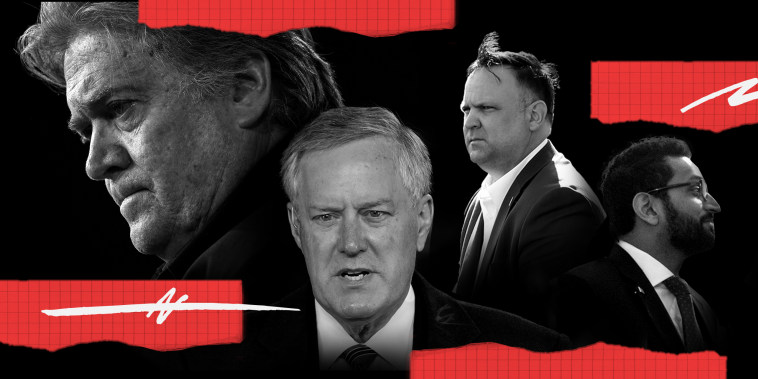 Photo illustration: Red pieces of paper with scribbles around images of Steve Bannon, Mark Meadows, Dan Scavino and Kash Patel.