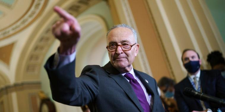 Senate Majority Leader Chuck Schumer, D-N.Y., speaks on the Capitol on Sept. 14, 2021.