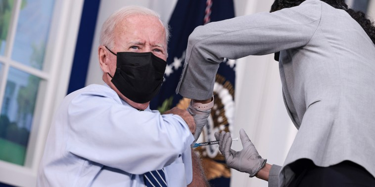 President Biden Receives Covid-19 Booster Shot At The White House