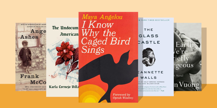 Illustration of five books if you liked reading Glass Castle -  I Know Why the Caged Bird Sings, Angela's Ashes, The Undocumented Americans, On Earth We're Briefly Gorgeous