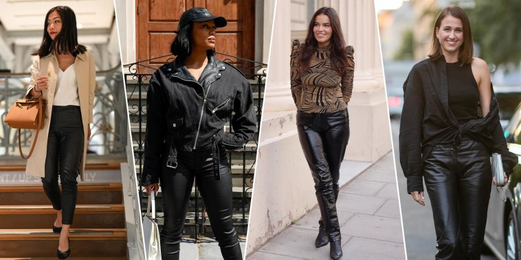 Illustration of four woman wearing different styles with black leather pants