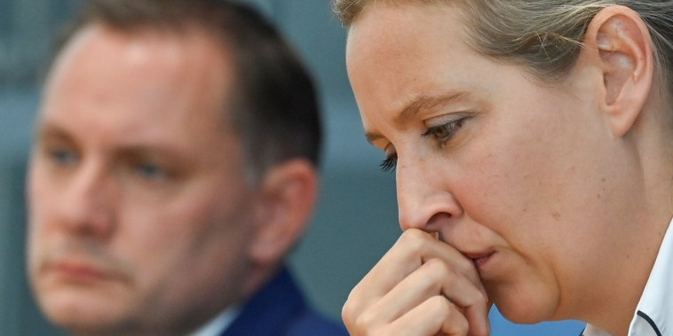 Image: Alice Weidel and Tino Chrupalla of Germany's Alternative for Germany (AfD) at a news conference in Berlin on Sept. 27, 2021.