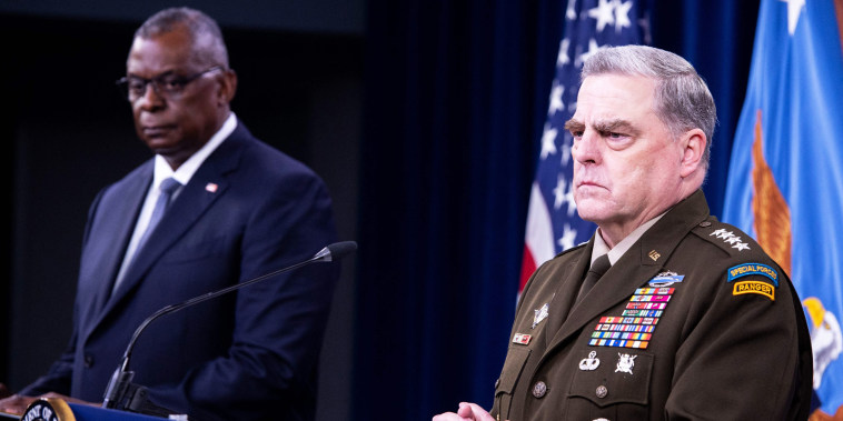 Defense Secretary Lloyd Austin III and Chairman of the Joint Chiefs Staff Mark Milley speak at the Pentagon on Sept. 1, 2021.