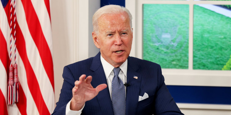 President Joe Biden hosts a virtual Covid-19 summit as part of the United Nations General Assembly from the South Court Auditorium in the White House complex on Sept. 22, 2021.