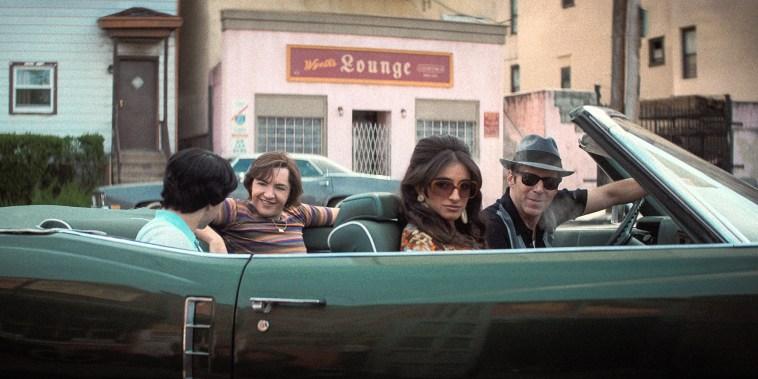 """Michael Gandolfini as Teenage Tony Soprano, Michela De Rossi as Giuseppina Moltisanti and lessandro Nivola as Dickie Moltisanti in \""""The Many Saints of Newark.\"""""""