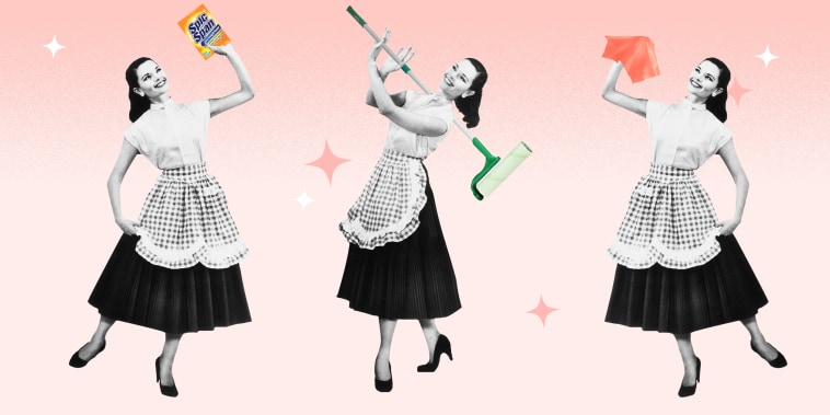 Illustration of a vintage woman cleaning with Amazon products