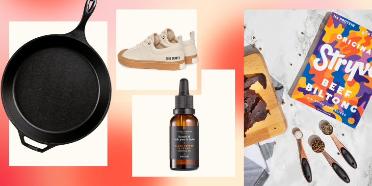 Illustration of a Cast Iron, shoes, shaving lotion and a lifestyle of sliced Biltong