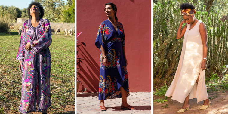 Split images of three different Women outside wearing stylish caftans