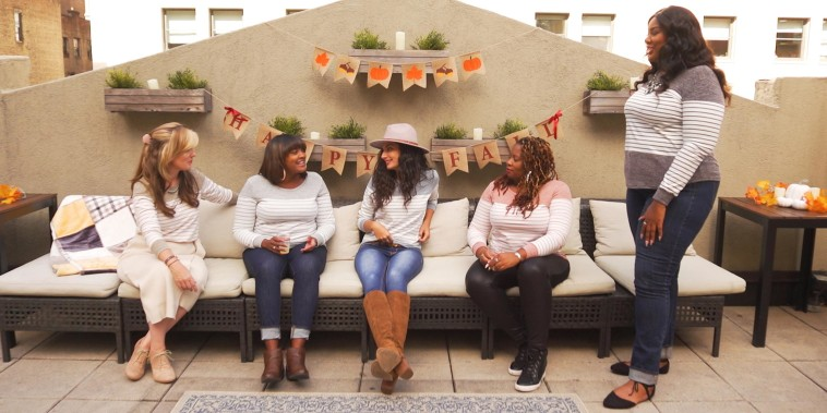 Five Woman with different sizes bodies sitting outside wearing the Vemvan's Long-Sleeve Color Block Striped T-Shirt