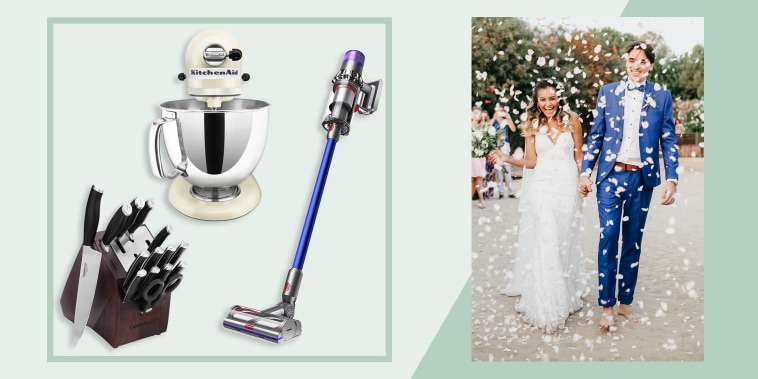Illustration of a couple getting married and a Calphalon Self-Sharpening 15-Piece Knife Block Set , KitchenAid Artisan 5-Quart Stand Mixer and a Dyson V11 vacuum