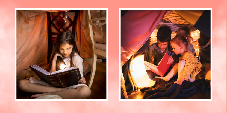 Little girl reading a book with a flashlight under a play fort and a sister and brother reading a book together in a play fort