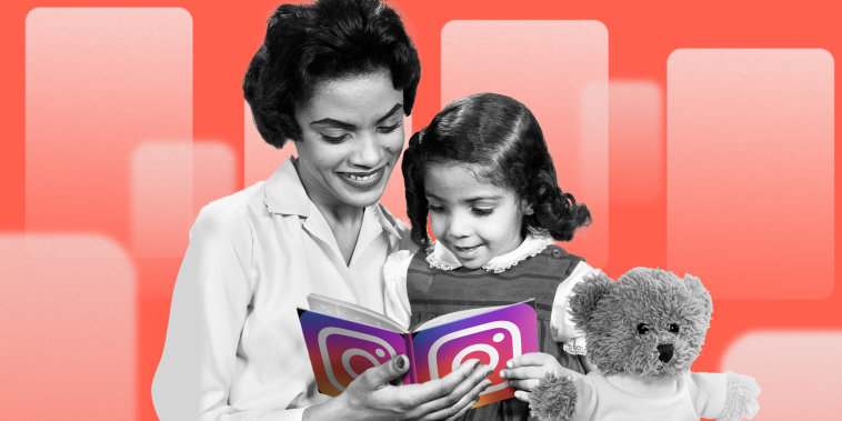 Collage of mom an daughter reading an Instagram book