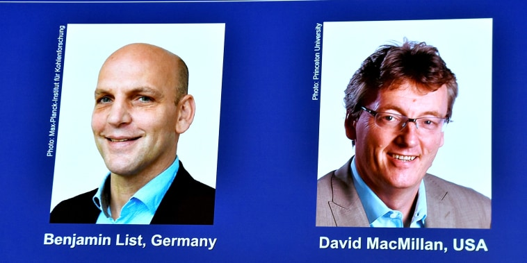 Image: Announcement of winners of the 2021 Nobel Prize in Chemistry in Stockholm