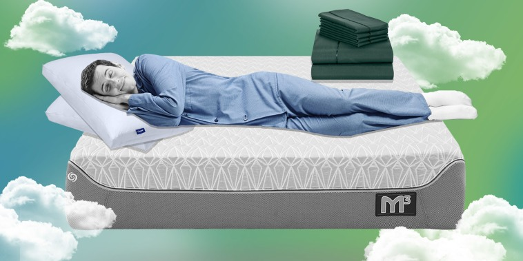 Illustration of a Man sleeping on a Bedgear M3 Mattress, using 2 Original Casper Pillows and a set of LuxClub Bamboo 6-Piece Sheets on the bed