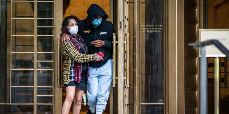 Image: Former NBA basketball player Sebastian Telfair, right, departs Manhattan Federal Court on Oct. 7, 2021, in New York.
