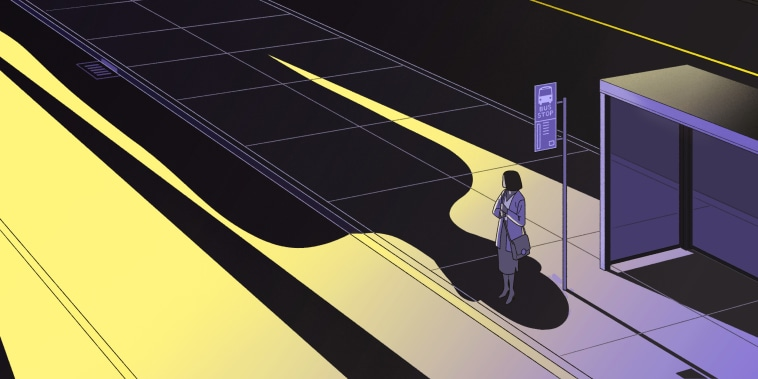 Illustration of a woman waiting for the bus as a shadow in the shape of a human looms over her.
