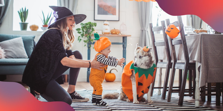 Mother and baby son in costumes at home for Halloween, and the pet dog in costume too
