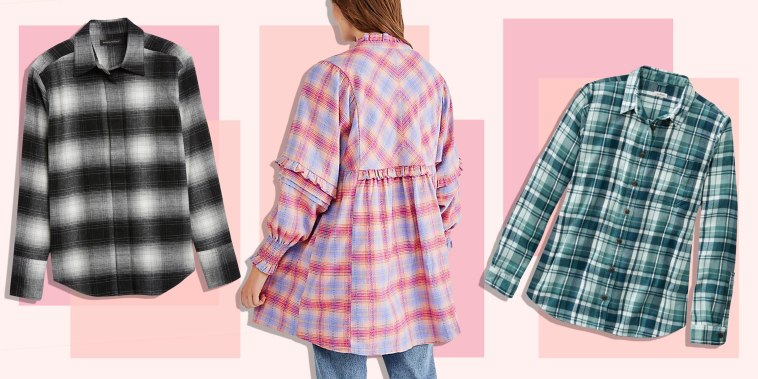 Illustration of a Woman wearing a pink Free People Redwood Flannel, L.L Bean Organic Plaid Tunic and a Banana Republic Organic Flannel Shirt