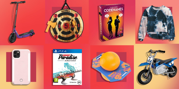 Illustration of eight different products great for 12 year old girls and boys for the holiday's