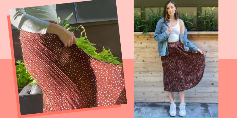 Two images of Sophie van Bastelaer wearing a pretty Amazon skirt outside
