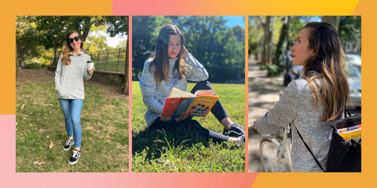 Writer Anne Bauso in three images wearing an Amazon pullover sweater outside