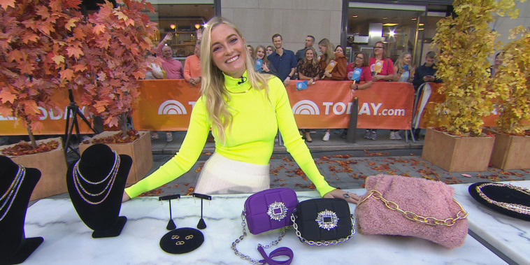 Jasmine Snow on the TODAY plaza to discuss fall accessories on broadcast