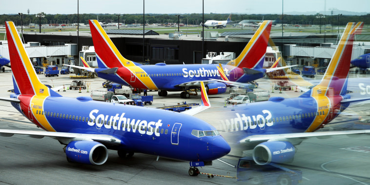 A Southwest Airlines airplane taxies from a gate at Baltimore Washington International Thurgood Marshall Airport on Oct. 11, 2021, in Baltimore.