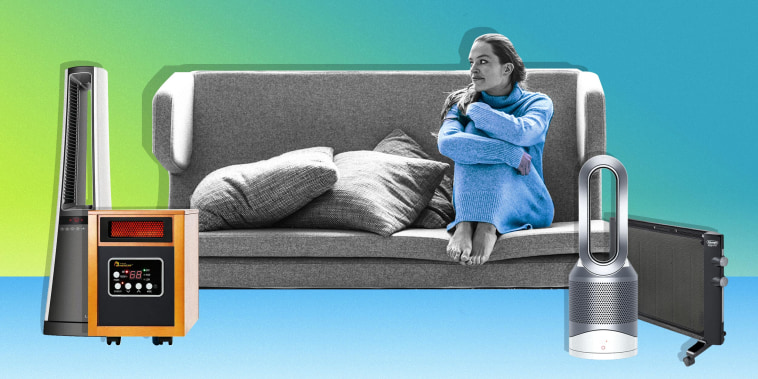 Illustration of a Woman on her couch surrounded by three space heaters