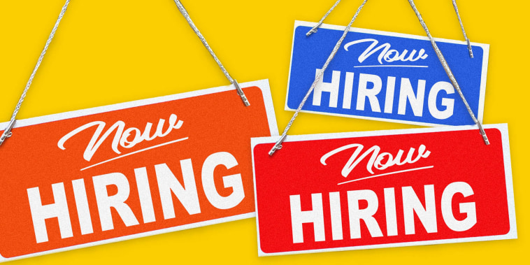 """Illustration of \""""Now Hiring\"""" signs"""