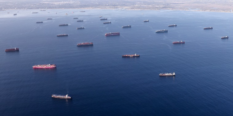 Image: Logjam Of Container Ships Clog Southern California Ports