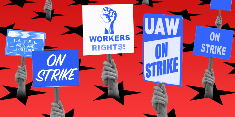 """Photo illustration: Hands holding protest signs emerge from the stars on the floor. They read,\""""I.A.T.S.E We Stand Together\"""", \""""On Strike\"""", \""""Workers Rights!\"""" and \""""On Strike\""""."""