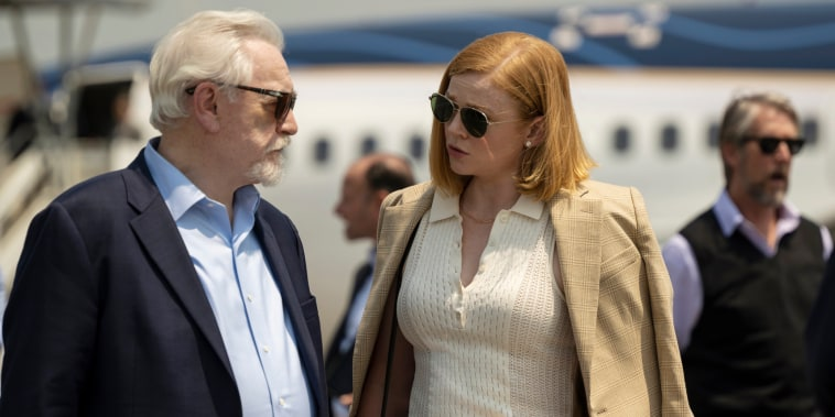 """Image: Brian Cox and Sarah Snook in a scene from Season 3 of \""""Succession.\"""""""