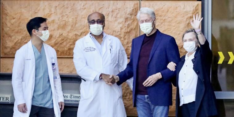 Image: Former U.S. President Bill Clinton leaves University of California Irvine Medical Center, in Orange, California