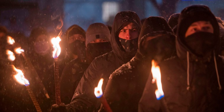Members of nationalist organizations take part in a torch ceremony commemorating Bulgarian General Hristo Lukov in Sofia on Feb. 13, 2021.